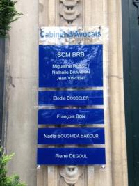 plaque professionnelle cabinet d'avocat de Maître Elodie Bosseler avocats à Neuilly-sur-Seine