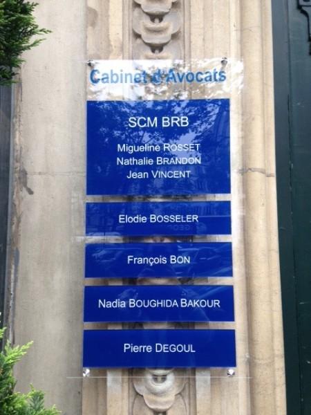 Nouvelle plaque professionnelle - Cabinet d avocat neuilly sur seine ...